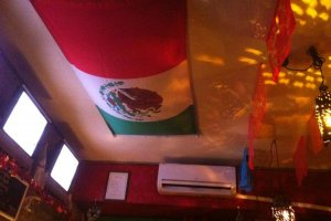 The Mexican flag on the ceiling adds a nice touch