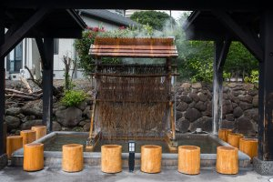 A hot spring at the entrance of the facility