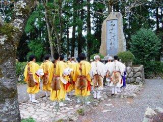 Group of yamabushi praying before the goma fire ceremony commences
