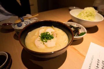 The chicken white broth udon
