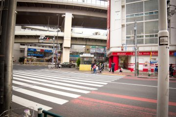 The exit of Sangenjaya Station