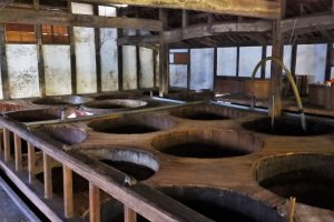 Vats of soy sauce brewing in the Sagawa Shoyu-gura