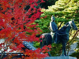 A statue of one of the Ouchi feudal lords of Yamaguchi