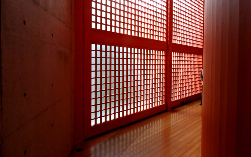 Natural light through red lattice