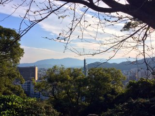 Not far, is the view from the Tokushima Castle area.