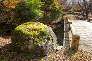 Beautiful moss covered rocks dotted the garden's paths