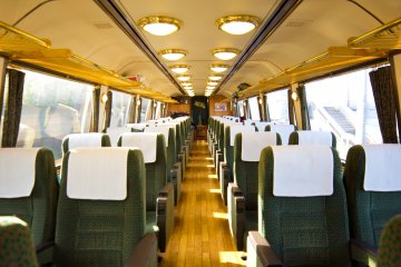The lovely interior of the carriage