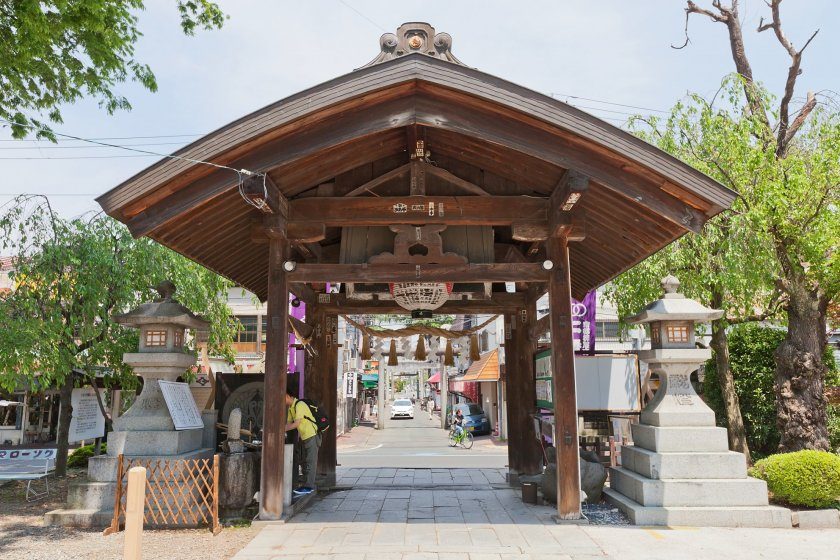 Street view of the shrine during the cherry blossom.