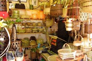 Handwoven baskets found on Narita Omotesando