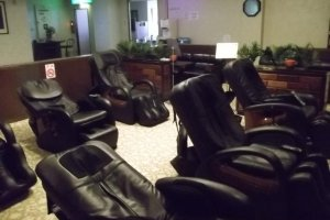The massage chairs in the relaxation area
