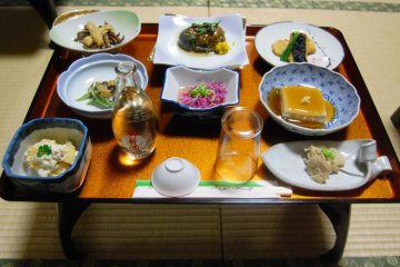 Shojin Ryori dinner serving - add a bottle of Haguro sake and you are set for the night