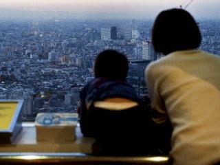 眺めを堪能する観光客