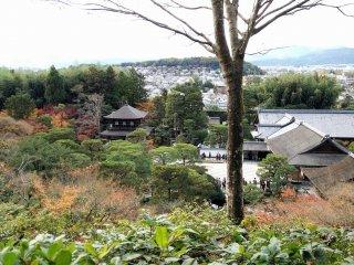 ตรงจุดที่สูงที่สุดของสวน มองเห็นศาลาเงิน อาคารต่างๆ และบริเวณของวัด มองไกลออกไปจะเห็นบ้านเรือนของเกียวโตเป็นฉากหลัง