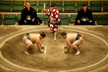 The dohyo is 18 feet square and 2 feet high
