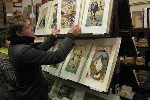 A maze of Fantastic Ukiyo e woodblock prints at Daishodo in Teramachi Kyoto