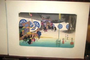 The Tokaido Road is a favourite subject for many Ukiyo e masters on display at Daishodo in Teramachi Kyoto