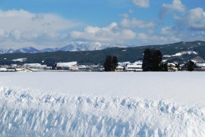 Winter view around Oyama; winter season is tough in Tohoku.