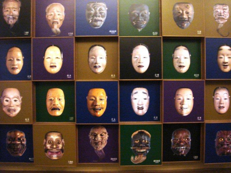 Panel that shows different Noh masks at the Kurokawa Noh Museum