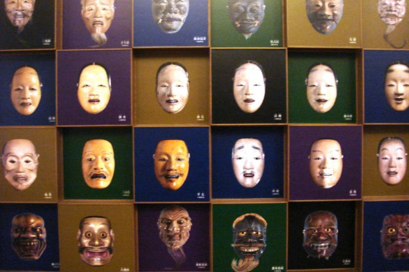 Panel that shows different Noh masks at the Kurokawa Noh Museum