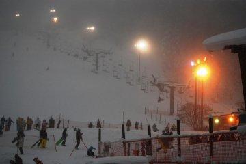 Night skiing is popular at Zao Ski Resort