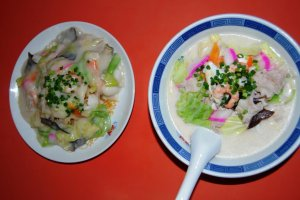 Sara udon and champon - two famous dishes of Nagasaki. Eat them at Nagasaki's Chinatown.