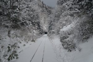Approaching a tunnel on the Akita Nairiku Line