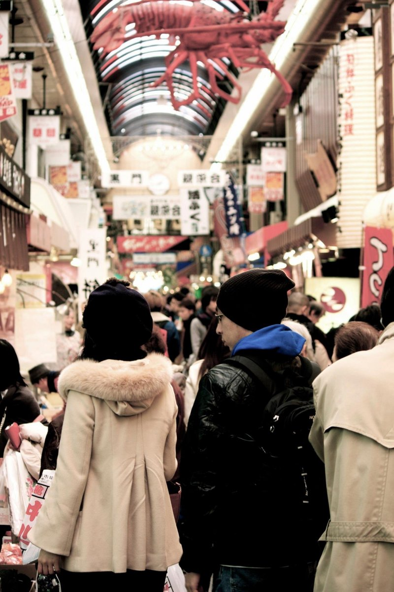 One of the long shopping arcades in Osaka.