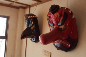 At the top of Mt. Haguro is a temple lodging known as Saikan. It houses many arts on display such as these tengu demon pieces.