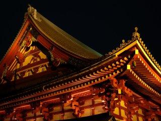 Lights illuminate the roof beautifully