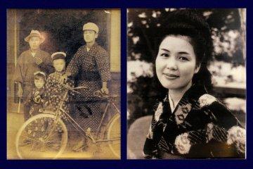 Historical images of folk wearing kasuri woven kimono