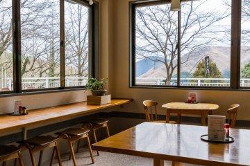 """The cafe has nice views and original """"karst manju"""" snacks"""