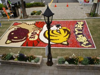 Streets decked with flower paintings