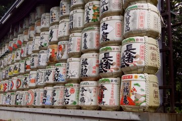 These are barrels of sake, which were donated to the Meiji Shrine.