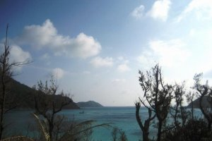 Beautiful ocean front views from the room at Southern Cross Hotel in Aharen Tokashiki-son Island Okinawa