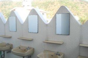 Outdoor basins give a camp air at the Southern Cross in Aharen Tokashiki-son Island Okinawa