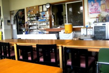 The dining area feels like a communal kitchen at the Southern Cross in Aharen Tokashiki-son Island Okinawa