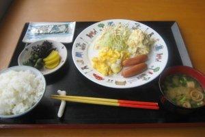 Simple home made breakfast at Southern Cross Hotel in Aharen Tokashiki-son Island Okinawa