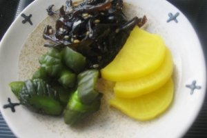 Tangy Pickles are a healthy way to start your day at Southern Cross Hotel in Aharen Tokashiki-son Island Okinawa