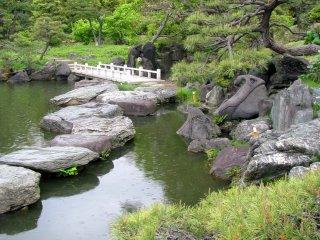 A pond and a stone bridge