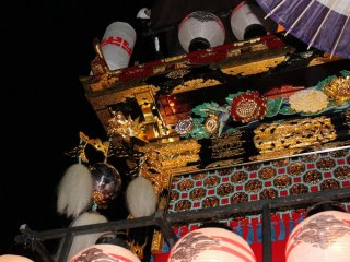 Close up detail of the decorations on a float