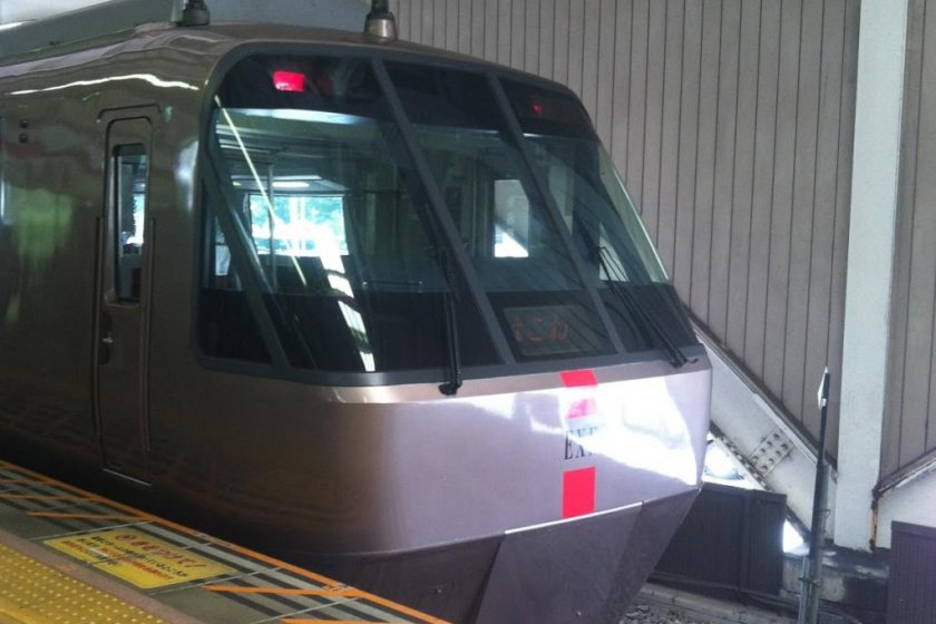The \'romance\' car train on arrival in Hakone