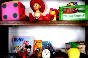 An Ecletic collection of American toys at Half Time Pension Dive Shop and Bar at Aharen Beach Tokashiki Kerama Islands Okinawa