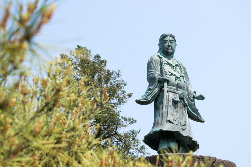 The statue of Yamato Takeru, the 12th emperor of  inside Kenroku-en.