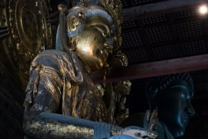 Inside Todai-ji, Nara. The main statue, Diabutsu, is the largest bronze Buddha Vairocana statue in the world.