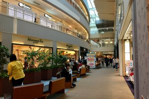 Inside the three story shopping complex