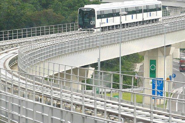 The Linimo snaking its way across eastern Nagoya
