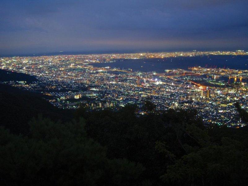 Night view of Osaka and Ashiya, Mount Maya