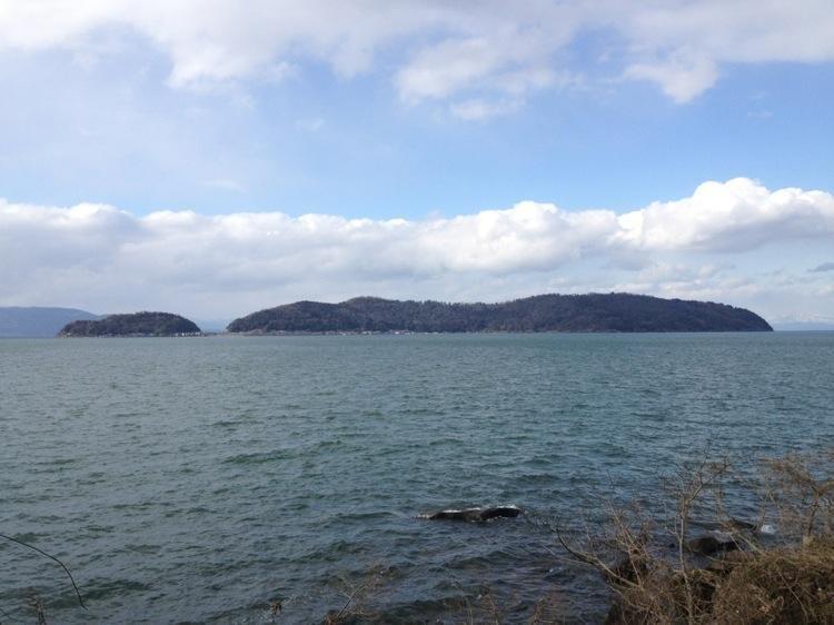Okishima, the only inhabted island in Lake Biwa