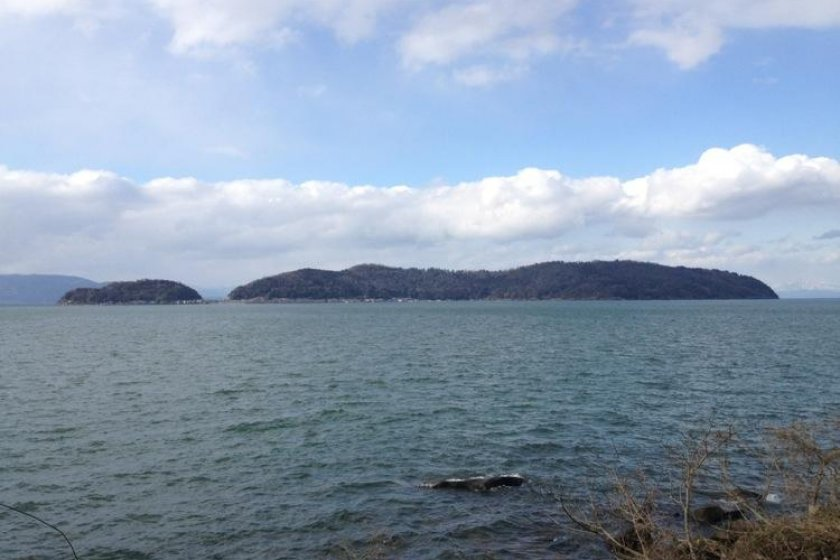 Okishima, the only inhabted island in Lake Biwa
