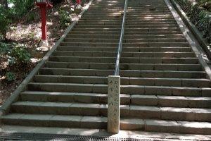 เมื่อเดินขึ้นเขาไปเรื่อยๆ เราก็มาถึงบันไดหิน ที่ทอดตัวสูงขึ้นสู่วัดยะคุโอะอิน (Yakuoin) สองข้างทางเรียงรายไปด้วยโคมไฟญี่ปุ่นศาลเจ้าภายในบริเวณ